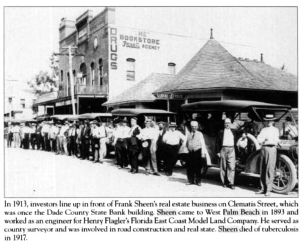 Investors lined up in front of Frank Sheens real estate business in 1913.